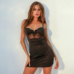Wholesale bosom skirt dress for sale - Group buy Women s Sexy Short Skirt in with Spliced Mesh Hollow and Perspective Bosom wrapped Suspender and Hip wrapped Dress