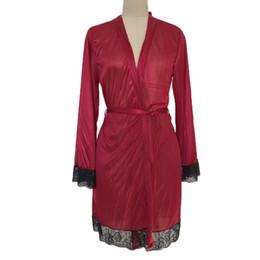 Discount hot lingerie kimono - KLV #ZG4 NEW HOT FASHION 2019 Free Ship Women Sexy Silk Kimono Dressing Gown Bath Robe Babydoll Lingerie Set Nightdress