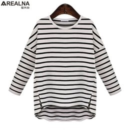 oversized striped tee NZ - Arealna 2019 Autumn Casual Loose Striped Tshirt Women Tops Long Sleeve T-shirts Oversized Tee Shirt Femme Plus Size Clothing 5xl S19715
