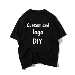 Wholesale diy tee shirts online – design 2019 Custom Tshirt Own Logo Picture Tops DIY Design Men Women T shirt Cotton T Shirt Tee Many Color Summer Camiseta Short Sleeve