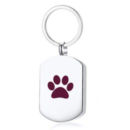 cat cremation jewelry UK - Paw Print Cremation Jewelry for Ashes Keychain Memorial Keepsake Key chain for Pet's cat dog's Ashes