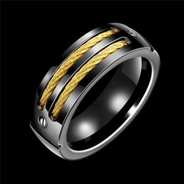 $enCountryForm.capitalKeyWord Australia - 316L Titanium steel ring Men's ring Wedding Band with Stainless Steel Cables Design Wedding Ring Men fashion jewelry 080205