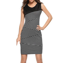 Discount optical illusions dresses - JAYCOSIN Summer Dresses Casual Vintage Strips Patchwork Wear To Work Optical Illusion Vestidos Bodycon Office Sheath Wom