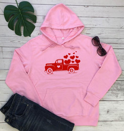 Wholesale valentine hoodie for sale – custom Valentines vintage Truck hoodie heart graphic women fashion cotton casual pure cotton tumblr young hipster warmer lover cute top