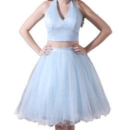 Wholesale Chic Halter Homecoming Dress Stores Baby Blue Prom Dress Satin and Tulle Two Piece Prom Dress Short sweet dresses