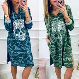 sexy dresses skulls UK - Fashion Summer Skull Camouflage Print V-Neck Dress Women Casual Loose Side Split Long Sleeve Streetwear Female Dresses