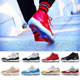 White Gown Red Roses Australia - New 11 11s high low le Basketball Shoes Men Women Gym Red Black White 11s Legend Cap and Gown Concord 23 45 Rose Gold red Blue Sneakers
