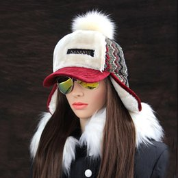 bomber hats Australia - Winter Faux Cashmere Bomber Hat Women Earflap Caps Faux Fur Pompom Snow Hats Adjustable Bohemian Russian Ushanka T200106