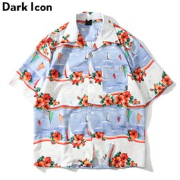 1a433d35 Dark Icon Floral Printed Hawaii Shirt Men 2019 Summer Turn-down Collar  Street Men's Shirts Beach Shirts for Men