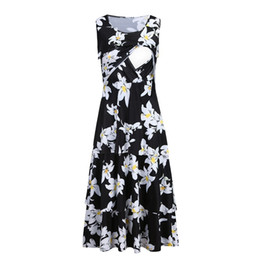 vetement women UK - Women Maternity Dresses Summer For Breastfeeding Elegant Floral Casual Party Nursing Dress Pregnant Clothes Vetement Femme 19may
