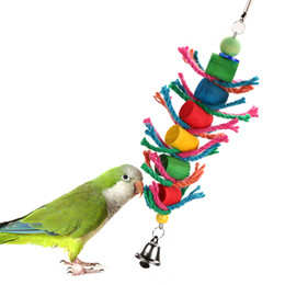 $enCountryForm.capitalKeyWord UK - Wood Hanging Bird Toy Parrot Cage Cylinder Rope Toy For Parrot Hamster Small Animal Pet Products