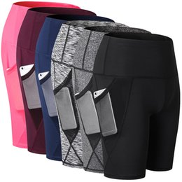 Design compression shorts online shopping - 2019 Women s Sports Shorts Compression Quick Dry Yoga Gym shorts Pockets Design Workout running Elastic Yoga