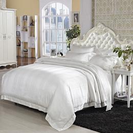 $enCountryForm.capitalKeyWord Australia - Cream White Mulberry Silk Cotton Luxury Wedding Bedding set Ultra Soft 4Pcs King size Jacquard Duvet cover Cotton Bed sheet set