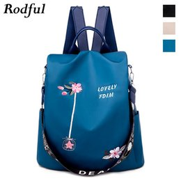 backpacks for business women Canada - New Flower embroidery backpack female Oxford back pack bag backpack for women Teenager girls youth anti thief bagpack Blue Khaki CX200805