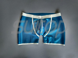 silver latex short Australia - Suitop rubber latex short pants underwear latex for men in Metallic Blue Male's mens