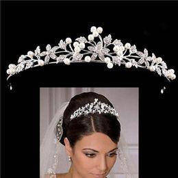 crown head tiara 2019 - European Crystal Pearl Bridal Wedding Tiaras and Crowns Bridal Hair Ornaments Head Decorations Rhinestone Tiara Bride He