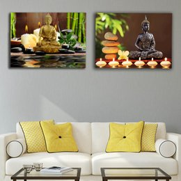 led canvas prints NZ - Led canvas prints zen canvas wall art buddha with green bamboo pictures spa stone modern artwork stretched and framed SH190918