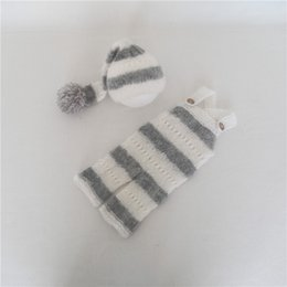 $enCountryForm.capitalKeyWord Australia - White and Grey Newborn Sleepy Hat Props Knitted Pom Bonnet Soft Mohair Outfit for Newborns Crochet Baby Overalls Photoshoot