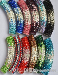 tube bending bracelet Canada - 30 pcs lot 45cm mixed multicolor Rhinestone Micro Pave CZ Crystal gradual change crystal tube Long tubes bending beads Bracelets y3454 g94