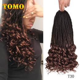 $enCountryForm.capitalKeyWord Australia - TOMO Crochet Braids Ombre Brown Burgundy Synthetic Wavy ends Box Braids Hair Black White Woman Braiding Hair Extensions 22Strands pack