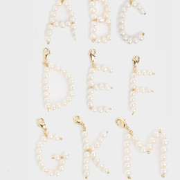 Alphabet Letter Pendants Australia - natural freshwater pearl Pearly Initial Jewelry name DIY custom 26 A-Z English Alphabet Letter pendant for jewelry making bedels