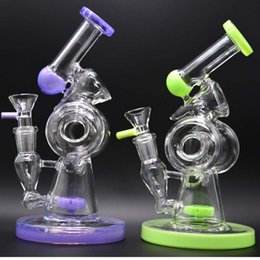 Tall Inline Bong Canada - Sidecar Dab Rigs Purple Glass Bong Unique Double Recycler Bubbler 7.8 inch Tall Slitted Donut Circle Inline Matrix Perc Oil Water Pipes 14mm