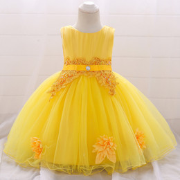 Tutus Australia - Ins Girls Party Tutu Dress Candy Color Embroidered Flower Ruffles Sash Baby Dress For Wedding Formal Dress
