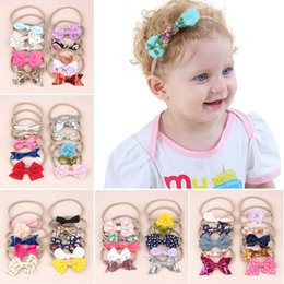 Headband Packs Australia - Nylon Baby headband Cute Rabbit Ear Bowknot Hair Rubber Band Set 10pcs pack BE31