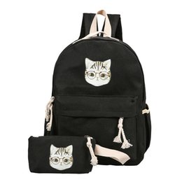 Animal Head Backpacks Australia - 2019 Cute Cartoon Cat Head Printing Canvas Bookbag Concise Casual Travel Backpack For Girls 2pcs set