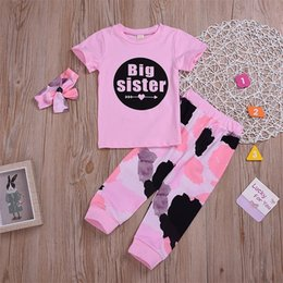 532d7659 Little Sister Big Sister Print Match Clothes Short Sleeve T shirt Long Pant Headband  Clothes Set For Baby Girl
