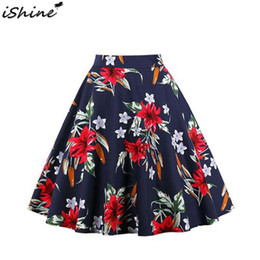 $enCountryForm.capitalKeyWord Australia - 2019 New Vintage Retro Floral Print Skirts Womens High Waist Rockabilly Pleated Audrey Hepburn Style Saias Midi Swing Ball Gown
