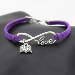 $enCountryForm.capitalKeyWord NZ - 10 Colors 2019 New Fashion Purple Leather Suede Bracelets & Bangles Silver Infinity Love Reading Lovers Book Bracelets for Women Men Jewelry