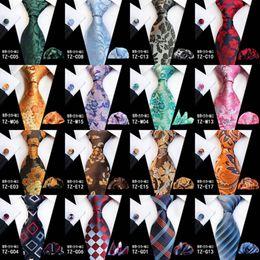 Purple Tie Sets For Men Australia - 2019 Designer Ties For Men 60 Styles Blue Fashion Woven Neckties Hanky Cufflinks Set For Wedding Party Tie Set