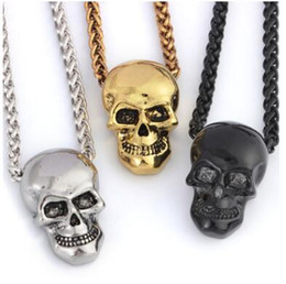 Wholesale Halloween Jewelry Skull Necklace Stainless Steel Gothic Biker Pendant Chain For Men Women Punk Gift Gold Black sliver Color