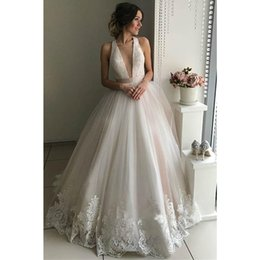 Wedding Dress Back Crosses Australia - V Neck Tulle Wedding Dresses A Line Open Cross Back Applique Floor Length Sweep Train Sleeveless Bridal Dress Vestido De Noiva