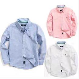Korea Brand Clothes Australia - South Korea Children's Clothing Boy White Shirt Long Sleeve Cotton Children's Shirt Boy White Shirt Autumn Cotton
