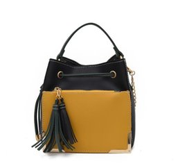 Phone Chain Color UK - Fashion handbag 2019 new tassel portable slung bucket bag Korean version of the collision color chain shoulder bag free shipping#002