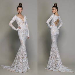 pnina tornai long sleeve lace Australia - High Fashion Mermaid Wedding Dresses Long Sleeves Illusion Lace Sexy Vestido De Novia Pnina Tornai 2020 Open Back Beach Wedding Gowns