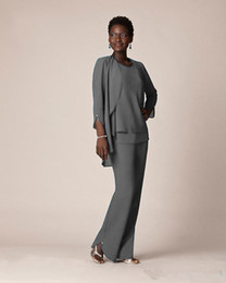 $enCountryForm.capitalKeyWord NZ - Grey Chiffon Formal Pant Suits For Mother Groom Dresses Evening Wear Long Mother of the Bride Dresses With Jackets Plus Size Custom Made