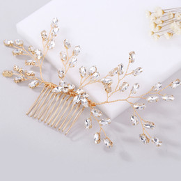 Discount ladies hair combs - Vintage Crystal Rhinestone Hair Comb Handmade Bridal Wedding Headdress Headwear Hair Jewelry Lady Hairpieces