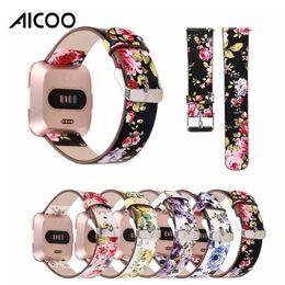 Aicoo for Fitbit Versa Armbänder Echtes Leder Blumenbänder Band 23 MM Armbänder Adapter Smart Uhrenarmband Zubehör OPP
