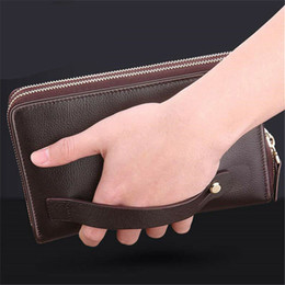 Discount leather mens cell phone holder wallet - Business Wallets Mens Money Solid Soft Leather Cell Phone Pocket Casual Glossy Purse Hand Bag Zipper Large Card Holders