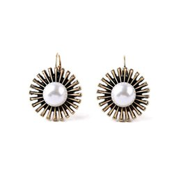 $enCountryForm.capitalKeyWord UK - New Arrival Ethnic Vintage Gold Sunflower Simulated-pearl Earrings for Women Bohemian Retro Brincos Hook Earrings Jewelry Gift