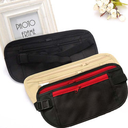 Wholesale Travel Pouch Waist Belt Bag Mobile phone certificate boarding pass jogging Zippered Hidden Money Security Storage Bag Kids Purse C6295