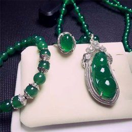 Fine Jewelry Jade Set Australia - Fine Jewelry 925 Silver Inlaid Natural Chalcedony Green Beans Pendant Necklace Ring Bracelet Set Gifts Free Shipping