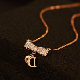 $enCountryForm.capitalKeyWord Australia - High quality rose gold plated pendants&necklaces for women rhinestone bowknot necklace letter D N00059