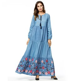 95aa26f71f Denim long dress for women Tall maxi dresses fashion color block Floral  Embroidery swing dress Spring 2019 Muslim