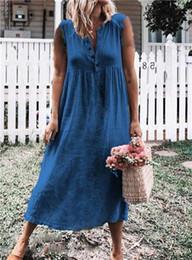 $enCountryForm.capitalKeyWord Australia - 4XL Womens Summer Soild Color Sleeveless Dresses Bohemima V Neck Designer Fashion Clothing Five Stlye Casual Apparel