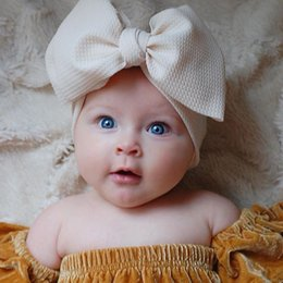 Headbands for big baby Heads online shopping - Fit All Baby Large Bow Girls Headband Big Bowknot Headwrap Kids Bow for Hair Cotton Wide Head Turban Infant Newborn Headbands