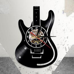 $enCountryForm.capitalKeyWord Australia - 1Piece Musical Instrument Vinyl Wall Clock Electric Guitar Laser Etched Shadow Art Unique Decoration Handmade Gift For Guitarist